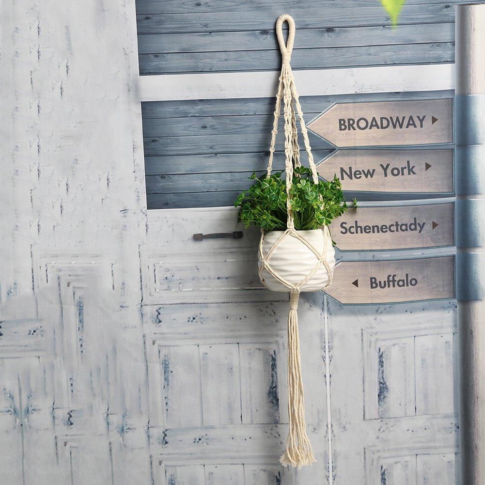 Best Garden Tools Vintage Macrame Wall Hanging Plant Hanger Rope Flowerpot Holder Handmade String Jute Rope Garden Decoration