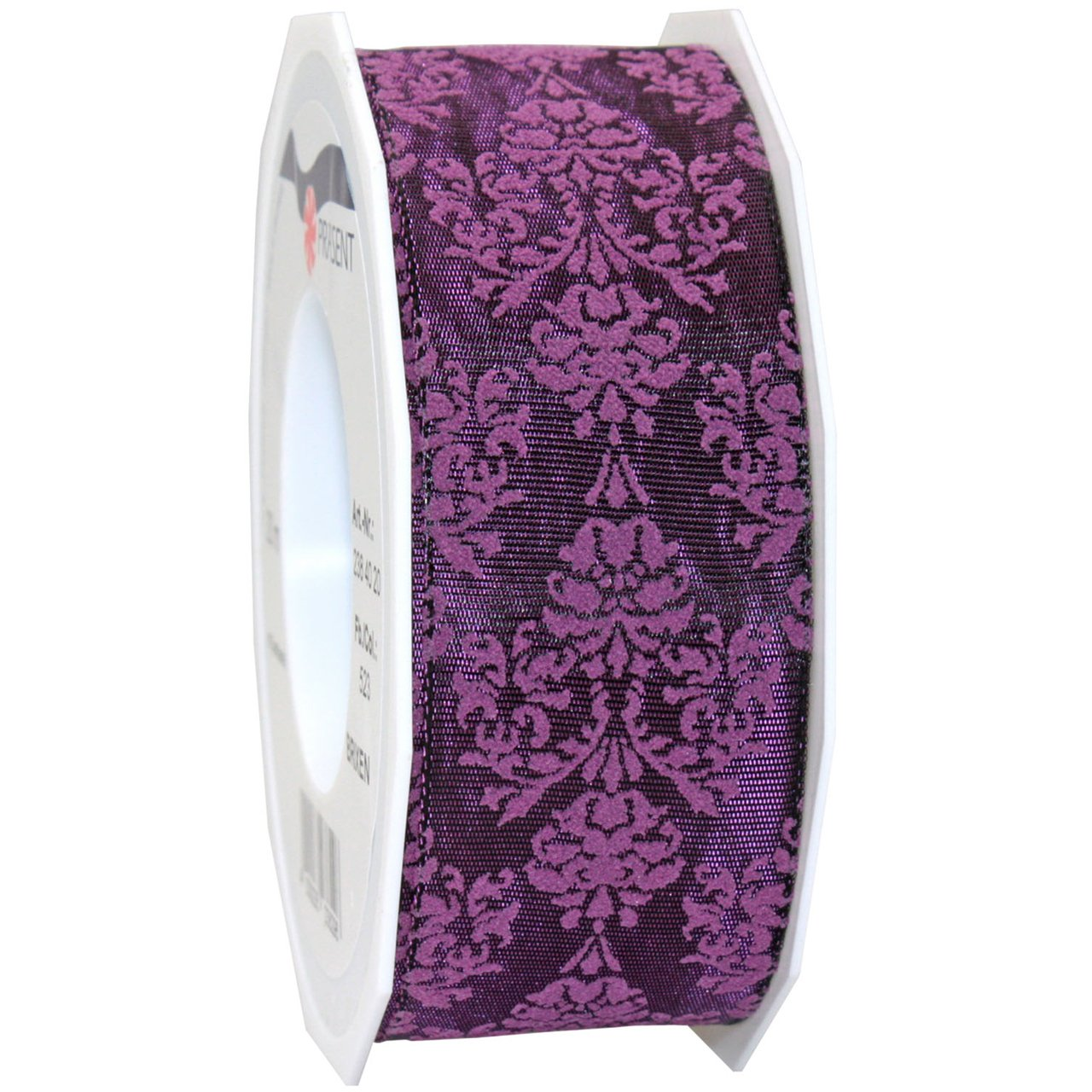 Purple Morex Ribbon Baroque Floral Printed Taffeta Ribbon, 11 2 by 22Inch Yard Spool, Red