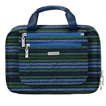 c6cb7f3546e4 Amazon.com   Baggalini Deluxe Travel Cosmetic Hanging Organizer Bag Bundle  Key Chain Purse Light- (Moss Stripe Multi)   Beauty