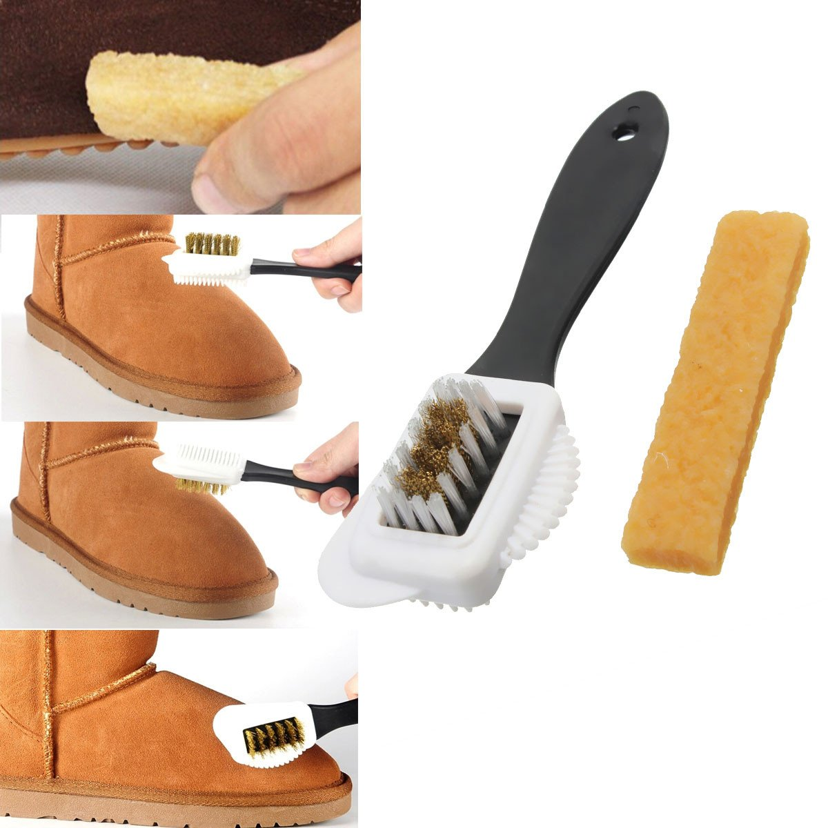 Double Sides Cleaning Brush Rubber Eraser Set for Suede Nubuck Shoes Boot Cleaner Buckdirect Worldwide Ltd.