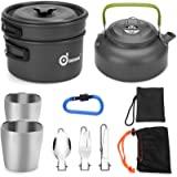 Odoland 10pcs Camping Cookware Mess Kit, Lightweight Pot Pan Kettle with 2 Cups, Fork Knife Spoon Kit for Backpacking…