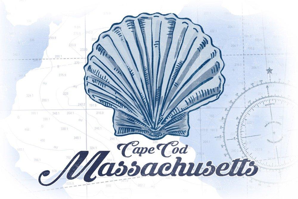 【誠実】 ケープコッド、マサチューセッツ州 Print – Scallop Shell – Giclee ブルー 36 – Coastalアイコン Canvas Tote Bag LANT-71837-TT B01MPZYWY2 36 x 54 Giclee Print 36 x 54 Giclee Print, ジュエリー アヴァンティ:b3960311 --- edkempharma.com