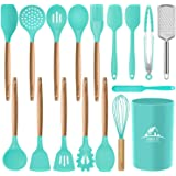 MIBOTE 17 Pcs Silicone Cooking Kitchen Utensils Set with Holder, Wooden Handles Cooking Tool BPA Free Non Toxic Turner…