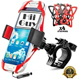 """Universal Phone Mount ,Bike, Motorcycle Cell Phone Holder Fit Most Smart Phones iPhone 7,7 Plus,6,5-Shopping Car,Fitness Machine,holds phone up to 4"""" Wide, Ebook Included- 3 Years Warranty By HiiGuy"""