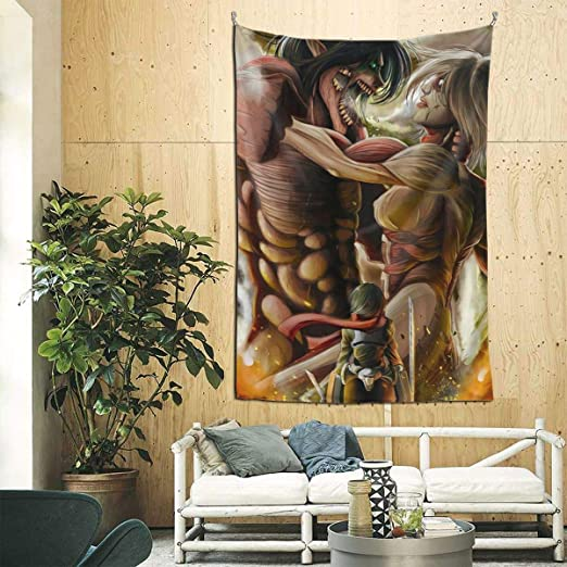 Amazon Com Dragongsj Anime Attack On Titan Tapestry Wall Tapestry For Bedroom Living Room Blanket Wall Hanging Decoration For Apartment Home Art 90aœ 60 In Home Kitchen
