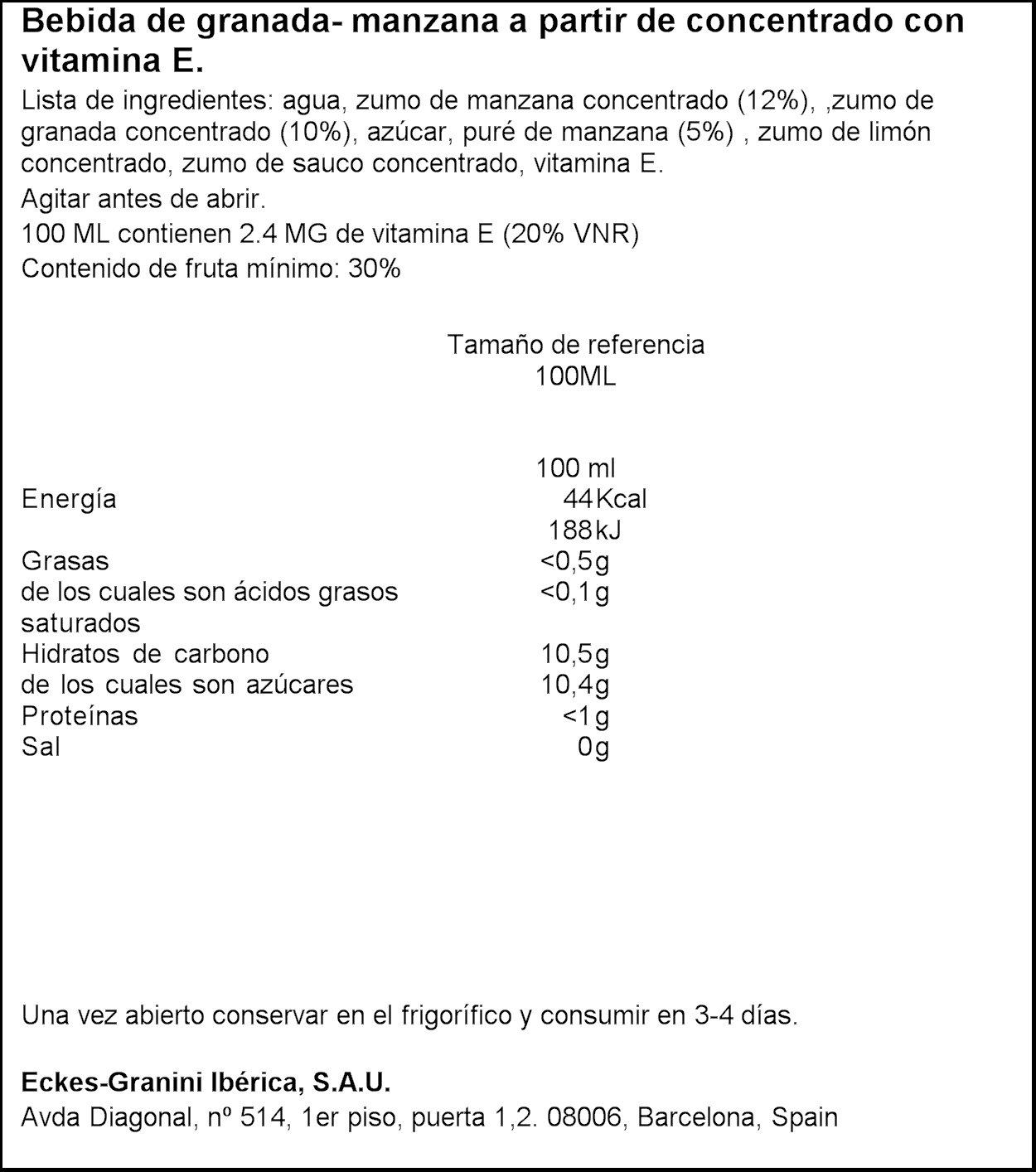 Granini - Granada - Nectar con antioxidantes de la vitamina E - 1 l - , Pack de 6
