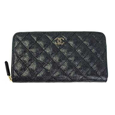 bff5d051d49fe0 Image Unavailable. Image not available for. Color: Chanel Matrasse Blue  Leather With Camellia Long Wallet ...