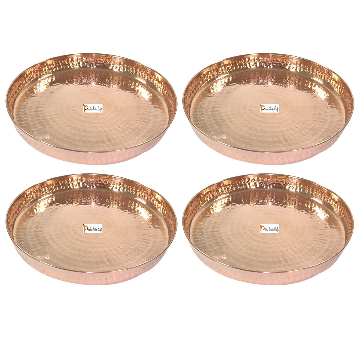Set of 4 -Prisha India Craft 100% Pure Copper Dinner Plate - DIAMETER 12 INCH- Traditional Kitchen Special Thali Plate Home Decorative Restaurant Ware Hotel - CHRISTMAS GIFTS