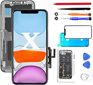 """for iPhone X Screen Replacement OLED (NOT LCD) 5.8"""" Display Digitizer Touch Screen Assembly Set with Full Repair Tools Kit, Screen Protector, Instructions"""