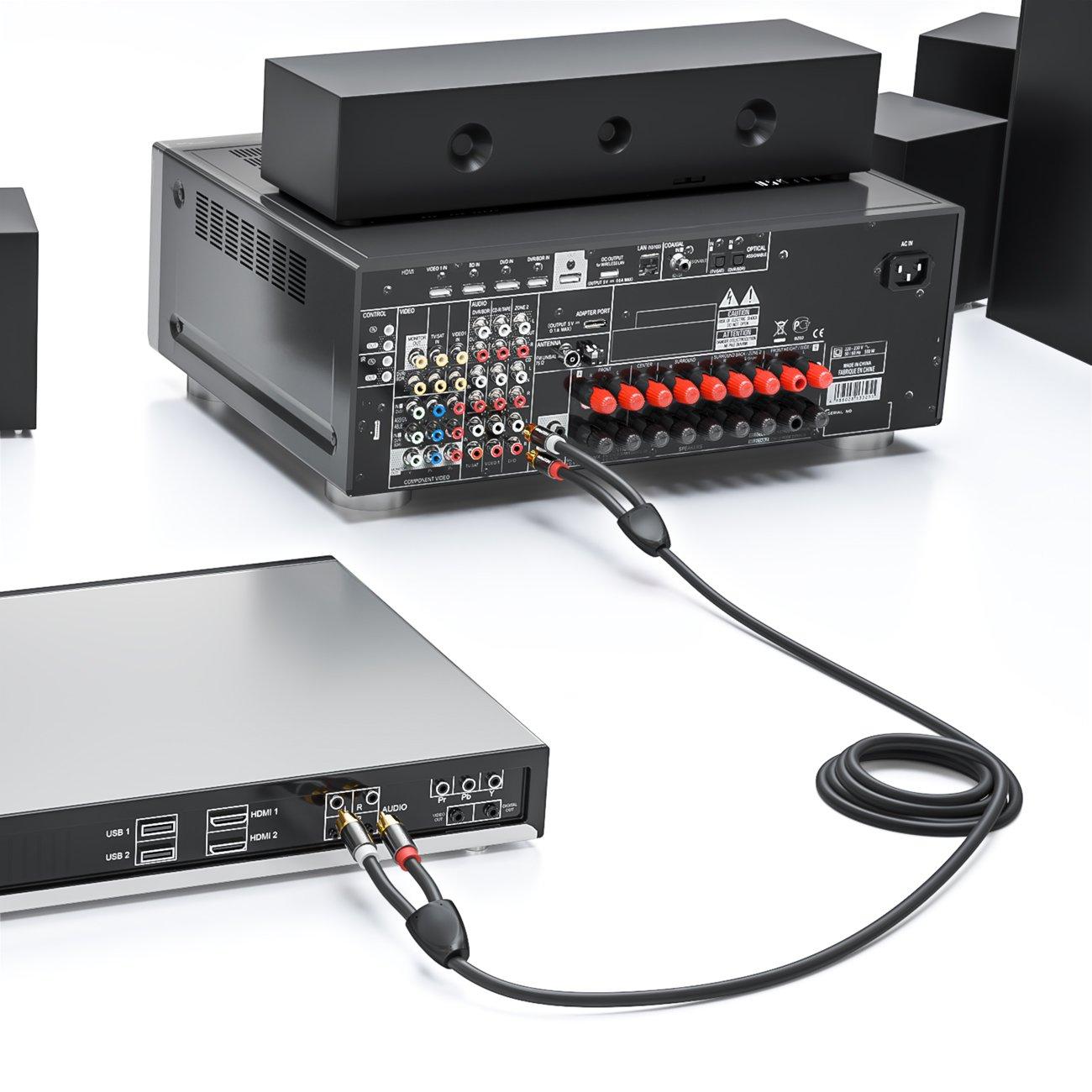 deleyCON 0,5m Cavo Stereo Audio Cinch Cavo Cinch RCA 2X Spine Cinch per 2X Prese Cinch Sistema HiFi Ricevitore HiFi Hometheater Lettore Nero