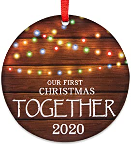 "Our First Christmas Together 2020, 3"" Rustic 1st Holiday Keepsake Ornament, Double-Side Printed Boyfriend Girlfriend Farmhouse Collectible Present"