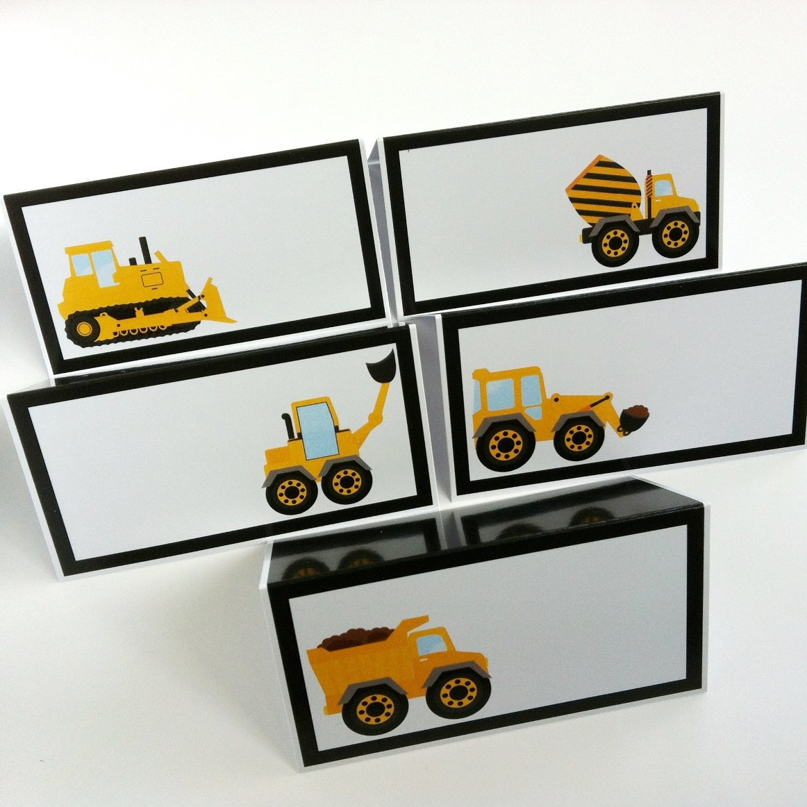 Construction Dump Truck Place Tent Cards - Boy Birthday Baby Shower Party Supplies - Set of 12