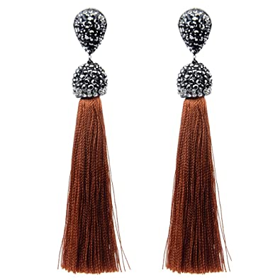 1d9546a67 Izasky Tassel Earrings Dangle Style Trendy 12 Colors - Long Tassel Earrings  Silk Crystal Dangle Drop
