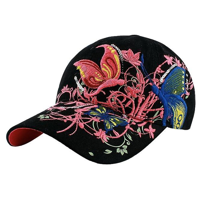 Zeagoo para mujer, diseño con bordado De flores y mariposas-Gorra De béisbol blanco: Amazon.es: Ropa y accesorios