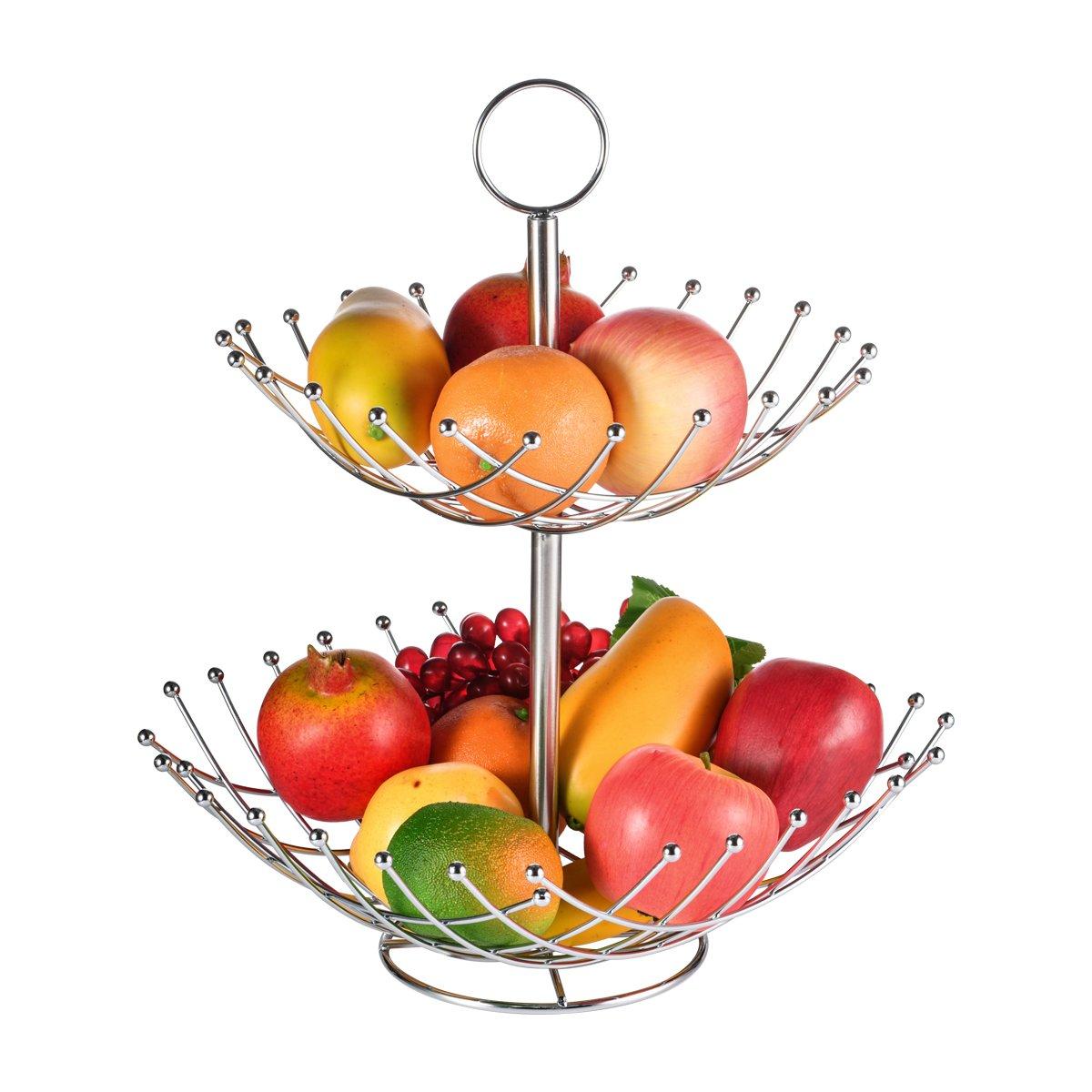 SHMEIQI 2段 カウンタートップ フルーツバスケットホルダー & ボウルスタンド - フルーツ、野菜、スナック、パン用ディスプレイトレイ - シルバー   B07FQJ3BK8