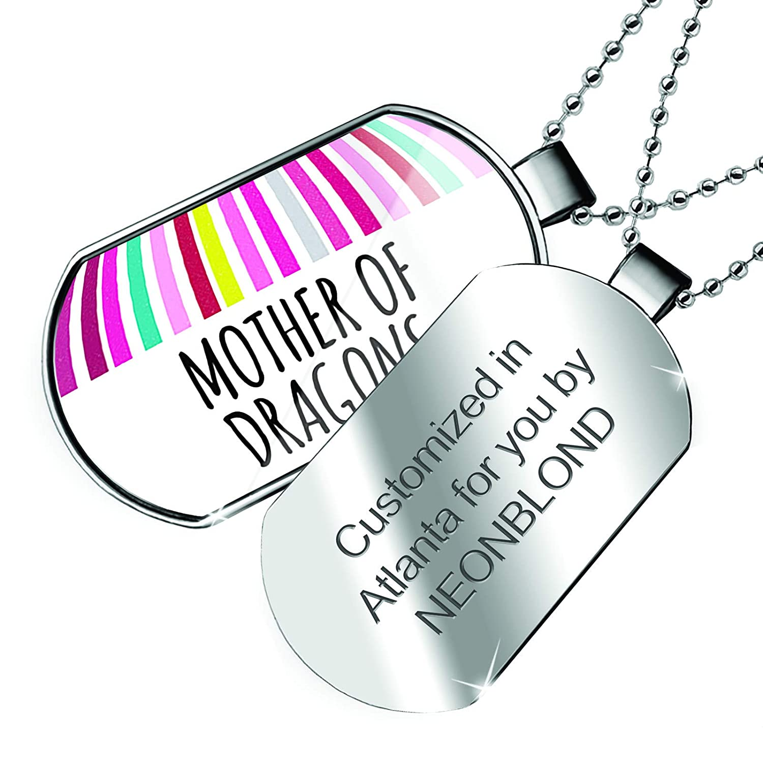 NEONBLOND Personalized Name Engraved Mother of Dragons Mothers Day Colorful Stripes Dogtag Necklace