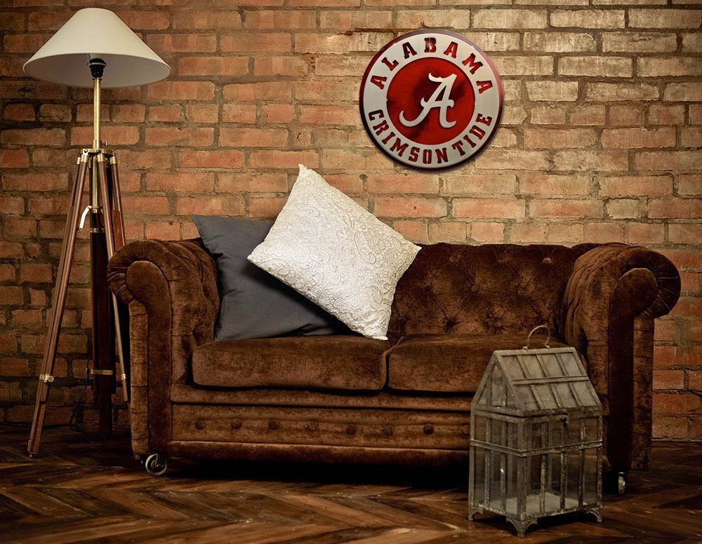 Gear New University of Alabama Crest 3D Vintage Metal College Man Cave Art, Large, Silver/Crimson/Red/White