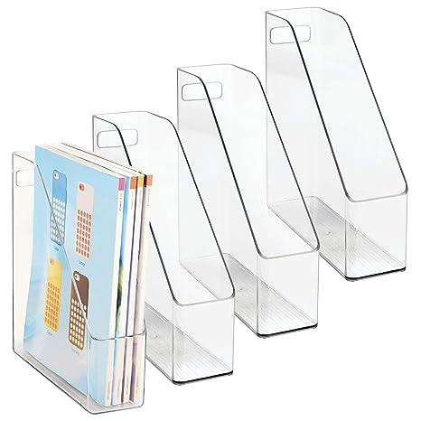 mDesign Set de archivador de plástico – 4 unidades – El perfecto organizador de papeles para