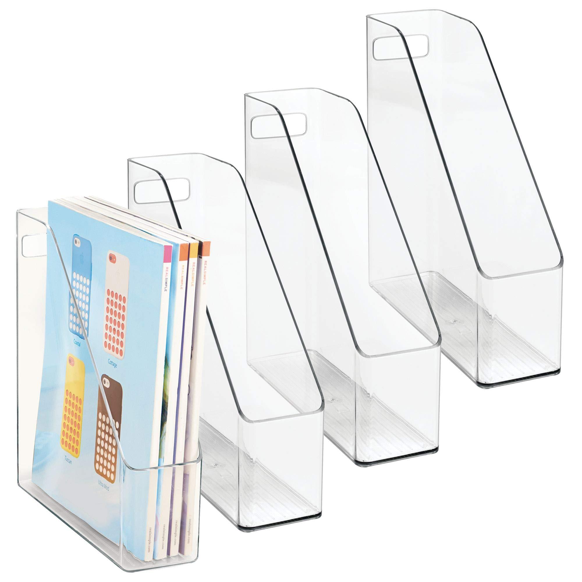 mDesign Plastic File Folder Holders Storage Organizer Set - Vertical with Handle - Holds Notebooks, Binders, Envelopes, Magazines - Home Office and Work Desktops, 4 Pack - Clear