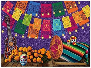 Allenjoy 8x6ft Mexican Fiesta Theme Backdrop for Photography Purple Day of The Dead Party Background Cinco de Mayo Colorful Flags Holiday Wall Banner Decor Baby Shower Decoration Photo Booth Props