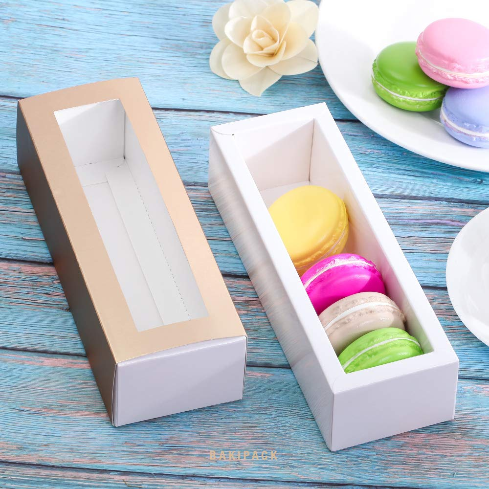 BAKIPACK Macaron Boxes for 6 Macarons Pack of 25 without Macaron inside Gold Macaron Boxes with Interior Meament 7.25 x 1.8 x 1.75 Macarons Box with Clear Window