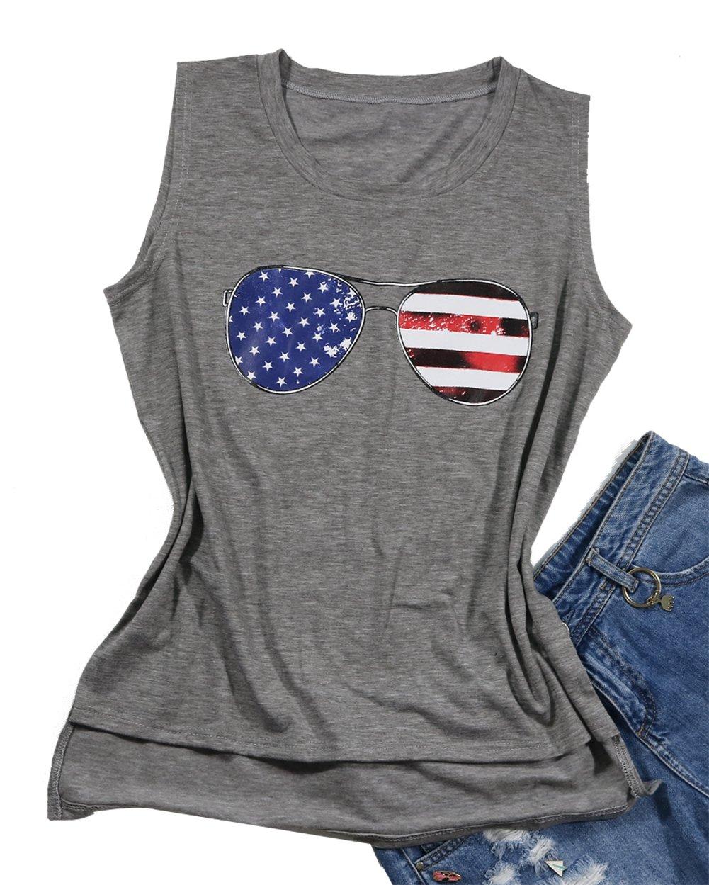 DUTUT Women's Summer Letter Print T-Shirt Sleeveless Funny Tank Tops Vest Size XL (Gray) by DUTUT (Image #1)