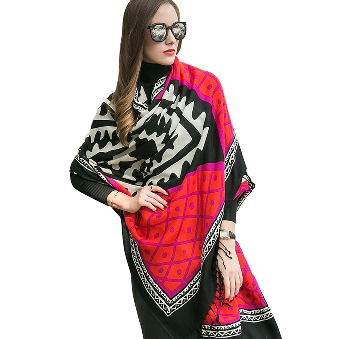 DANA XU 100% Pure Wool Women Winter Large Size Pashmina Travel Shawl (Red) by DANA XU (Image #1)