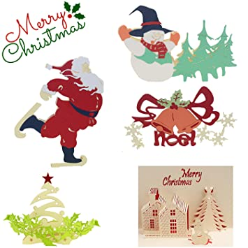 Amazon.com : 5 PCS Funny 3D Christmas Cards Pop Up Greeting Cards ...
