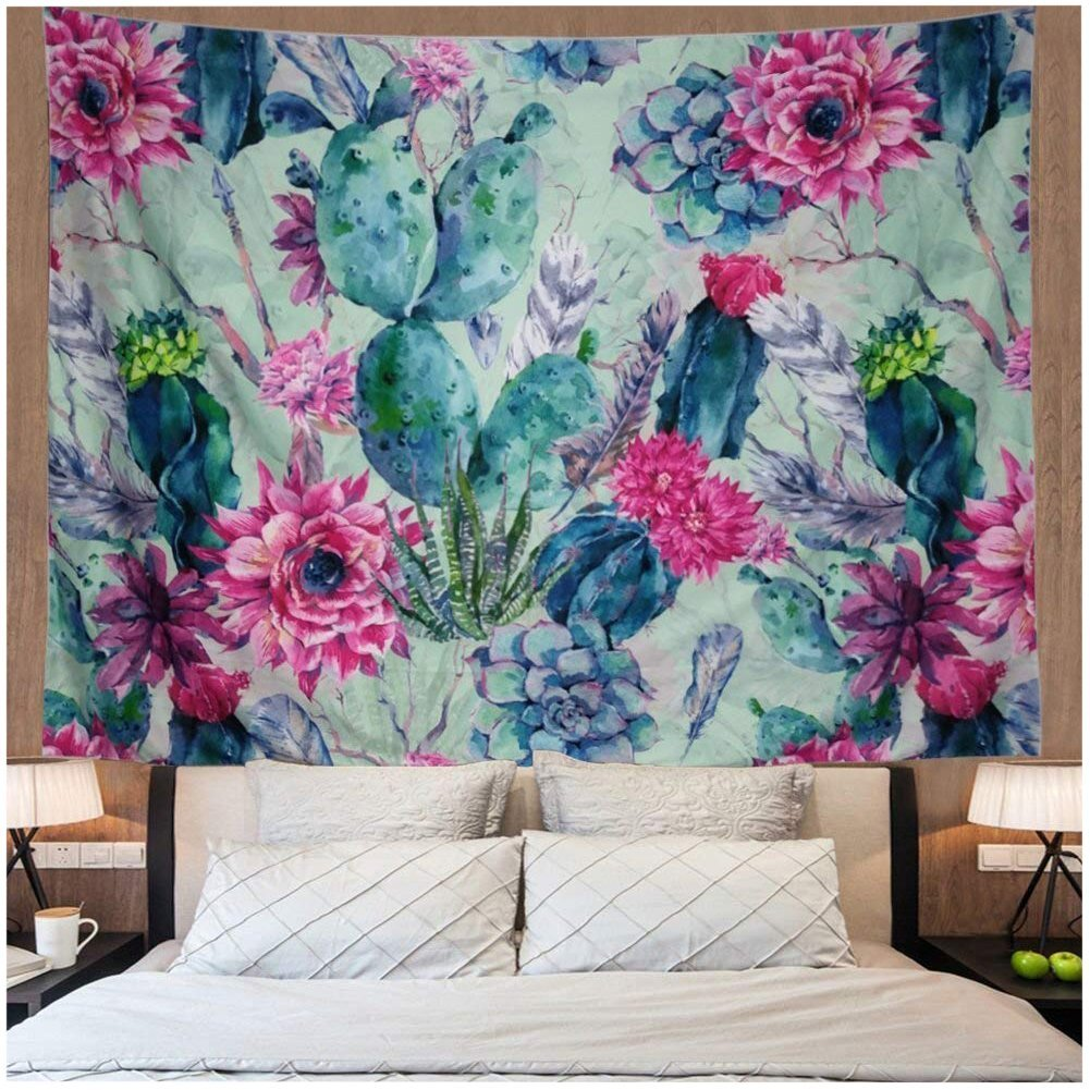 Leofanger Cactus Landscape Tapestry Wall Hanging Cactus Tapestry ...