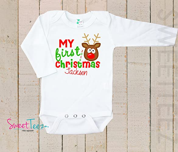 beb8c6cd71f5 Amazon.com: My first Christmas Baby Bodysuit Baby Girl Boy Personalized  with Name and Year Turkey: Handmade