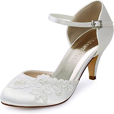 TALLA 39 EU. ElegantPark HC1604 Zapatos Boda Mujer Tacon Punta Chiusa Applique Perlas Satín Zapatos de Novia