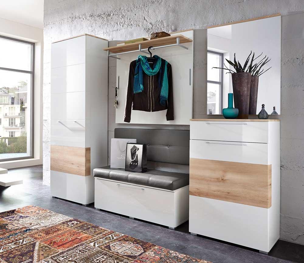5 Tlg Garderobe In Hochglanz Weiss Absetzg Buche Nb Schrank B