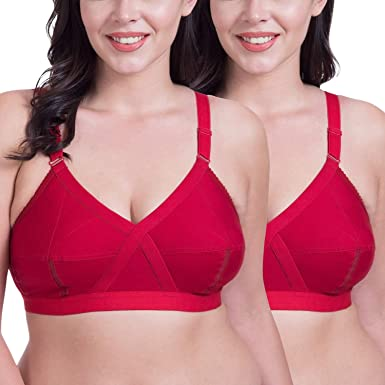 7da011558d4 Rajnie Cross Fit Plus Size Non Padded Red Cotton Bra - (Pack of 2)  Amazon. in  Clothing   Accessories