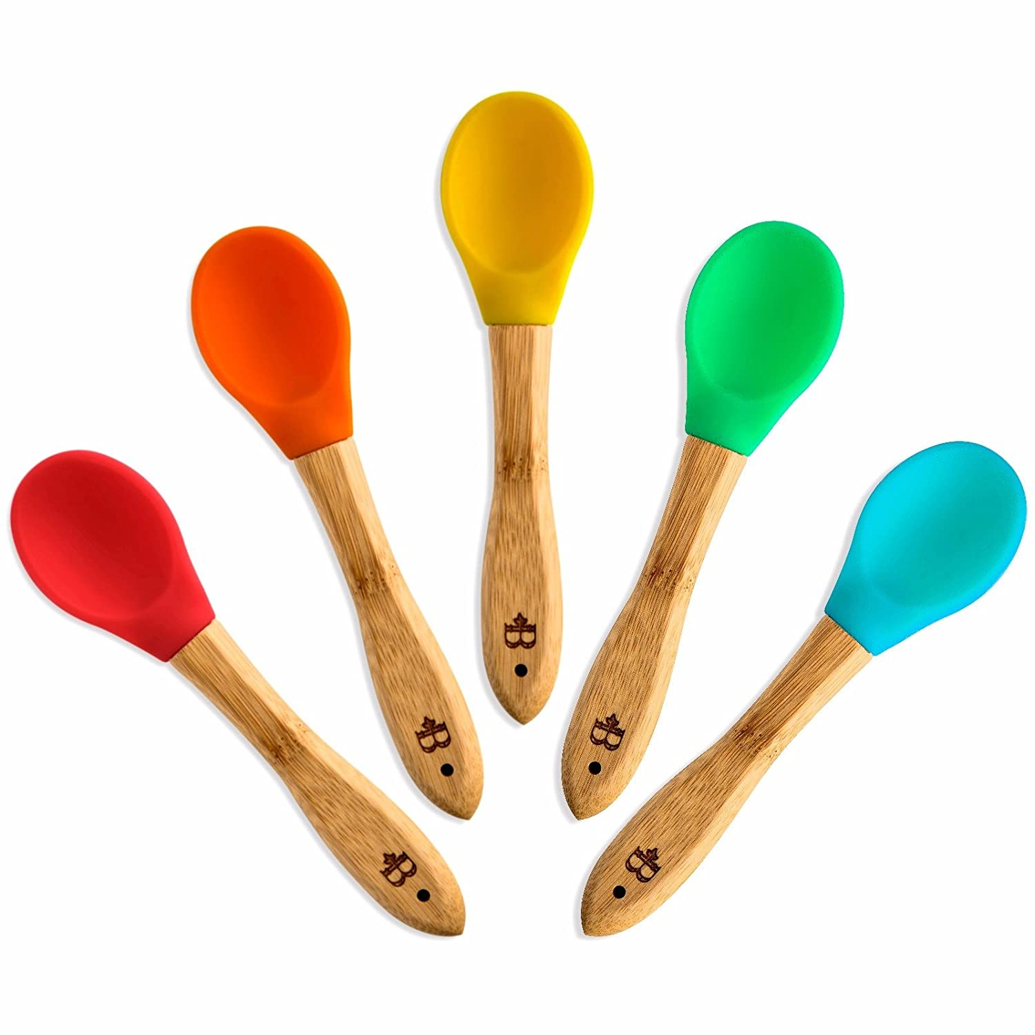 Baby Feeding Spoons Set (5 Pack) - First Stage Bamboo Weaning Spoons with Soft Silicone Tips for Babies - Gum-Friendly BPA, Phthalate, Plastic & Lead Free - Great Infant Gift by Bambusi Belmint BAM-5SP
