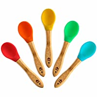 Bambusi Natural Bamboo Baby Spoons - First Stage Weaning Feeding Spoons with Soft Silicone Tips for Babies or Toddler - Gum-Friendly BPA-Free and Lead-Free - Great Infant Gift (Set of 5)