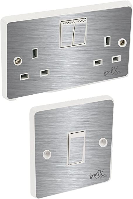 The Grafix Studio Brushed Silver Light Switch Double Socket Sticker Vinyl Skin Cover Amazon Co Uk Kitchen Home