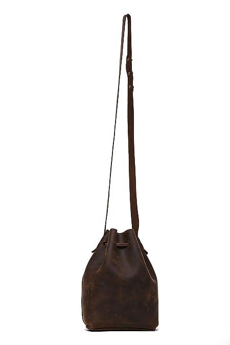 101791231 Genuine Leather Bucket Drawstring Shoulder Bag with Strap Sling Bag for Women  Brown: Handbags: Amazon.com