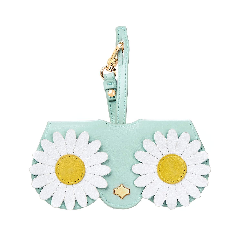bluee Flower Poppow Women's Handmade Sunglasses Case, Cute Leather Eyeglasses Case Bag Keychain Charm Decoration Pendant Gift Accessory