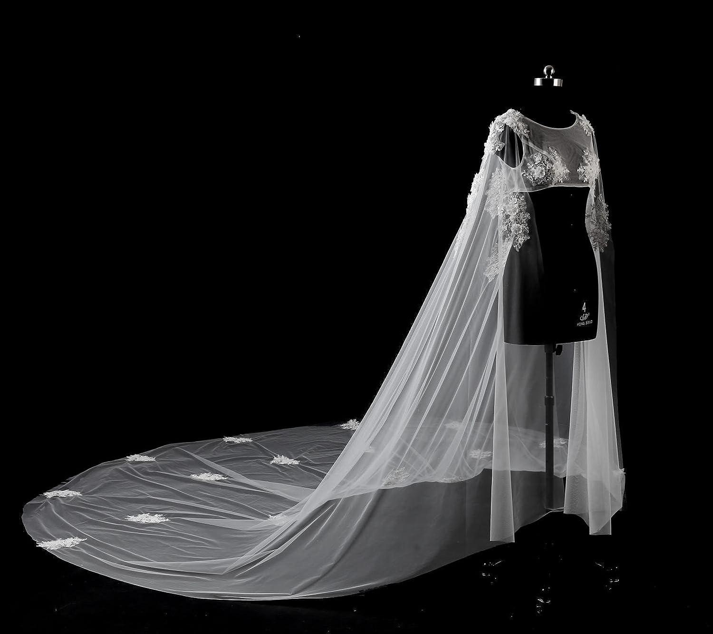 Ei&iLI velo da sposa spalla lunga del merletto della cinghia da sposa velo 3 metri di lunghezza coda decalcomanie cattedrale velo , ivory , 3m
