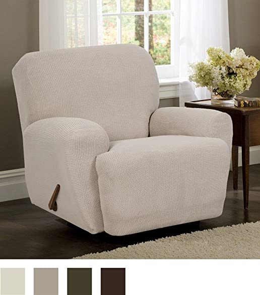 Maytex Stretch Reeves 4 Piece Recliner Slipcover, Natural