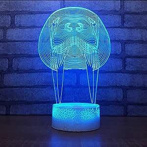 BSOCL 7 color night light night light led 3D animal shaped decorative lamp home lighting fixtures animal gift children
