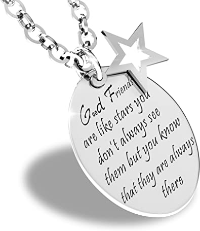 EOVE Good Friends are Like Stars Inspirational Friendship Quotes Necklace  Stainless Steel Charm Pendant
