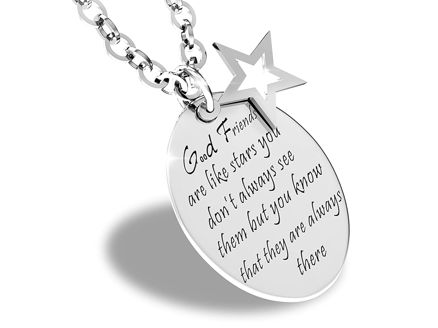 55d2d179ca0ac7 Good Friends Are Like Stars Inspirational Friendship Quotes Necklace  Stainless Steel Charm Pendant: Amazon.ca: Jewelry