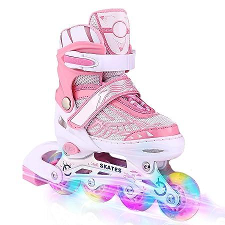 Hurbo Kids Adjustable Illuminating Inline Skates with Light up Wheels for Girls Boys Ladies Outdoor Skating Roller Skates