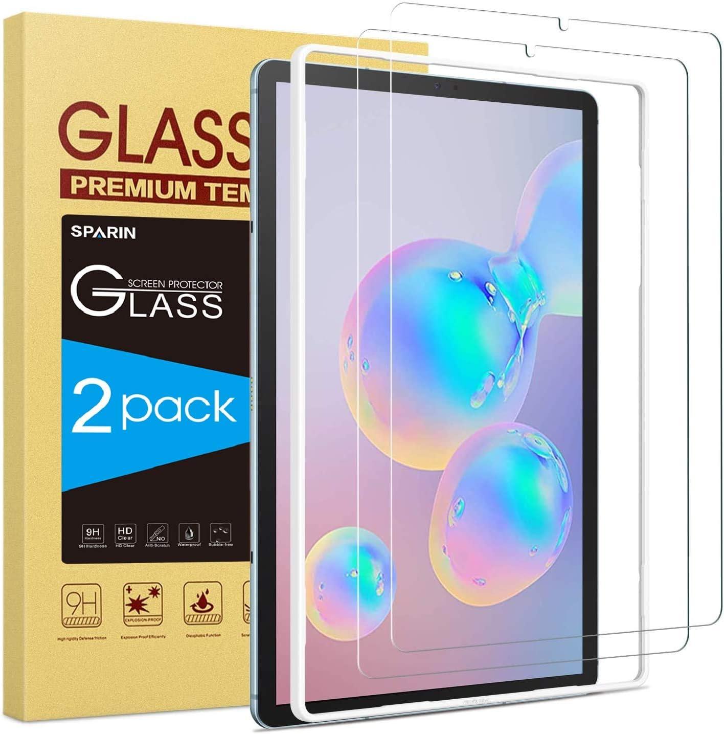 SPARIN Protector de pantalla de cristal templado compatible con Samsung Galaxy Tab S6 de 10,5 pulgadas con S Pen compatible, sin burbujas