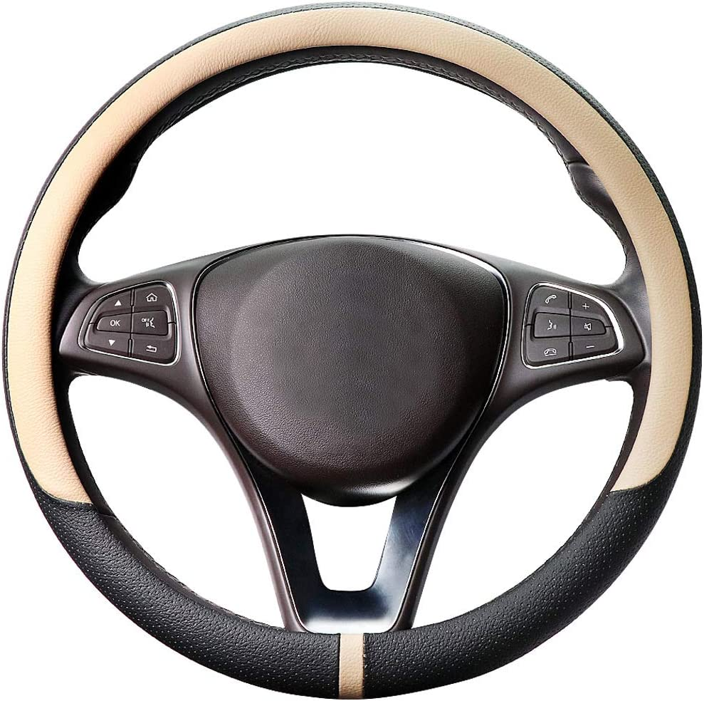 COFIT Breathable and Non Slip Microfiber Leather Steering Wheel Cover Universal M 14 3/5-15 1/3 Inch - Beige and Black