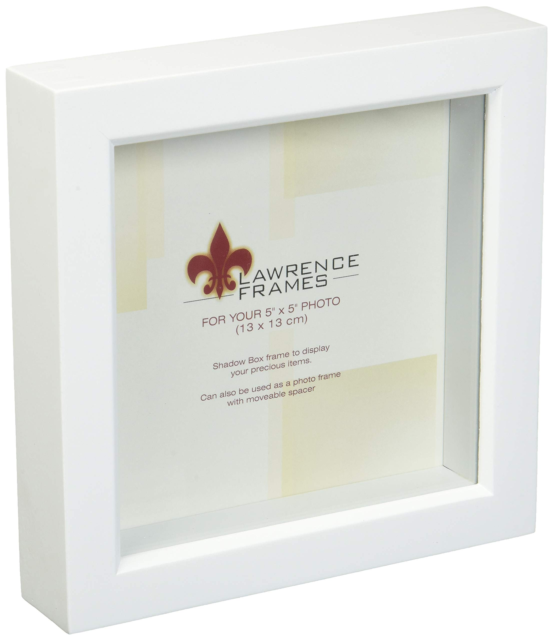 Lawrence Frames 795255 Wood Treasure Shadow Box Picture Frame, 5 X 5 Inch, White by Lawrence Frames