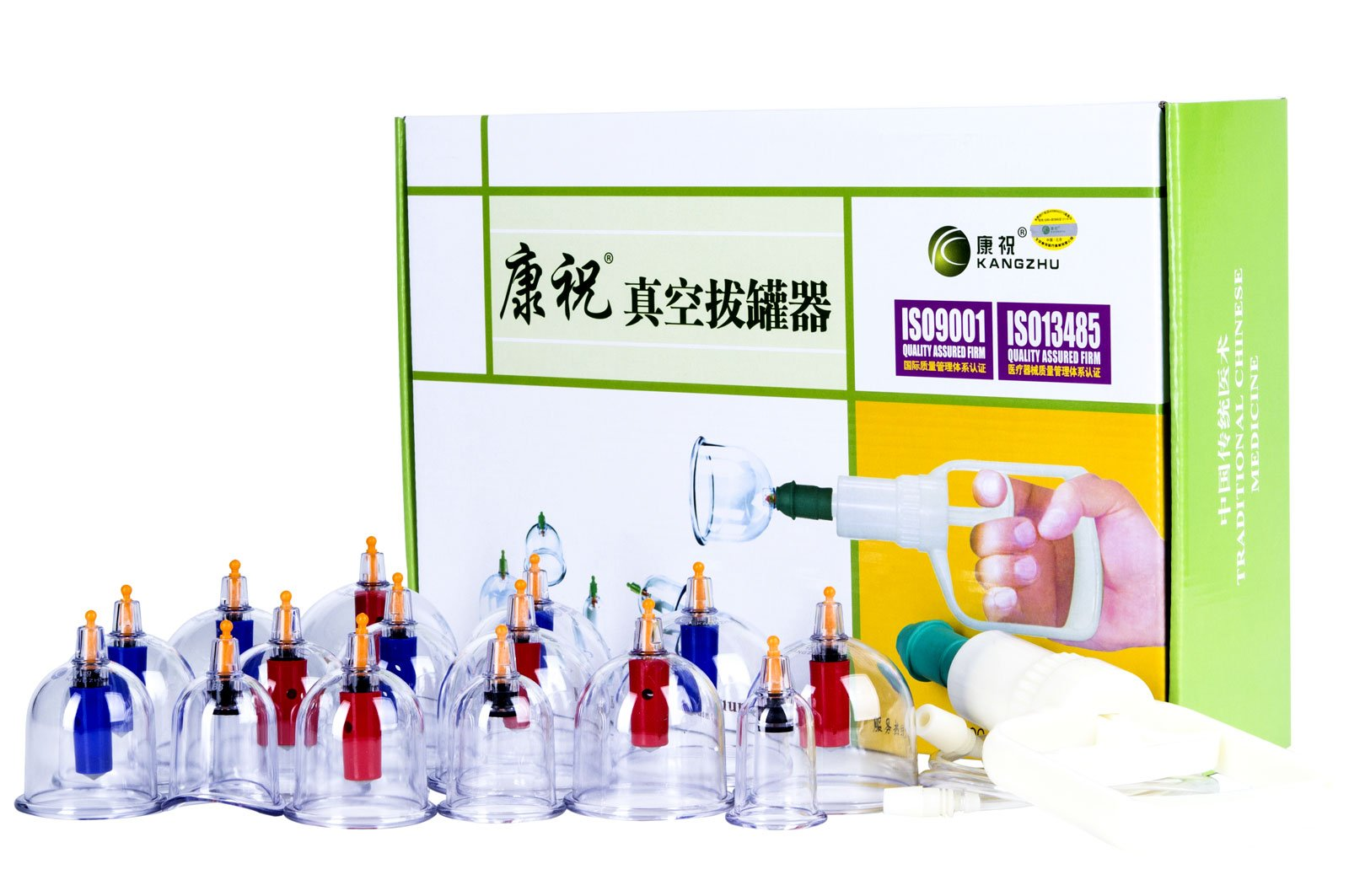 Kangzhu Professional Cupping Therapy Equipment Set with pumping handle 15 Cups & English Manual by Kangzhu