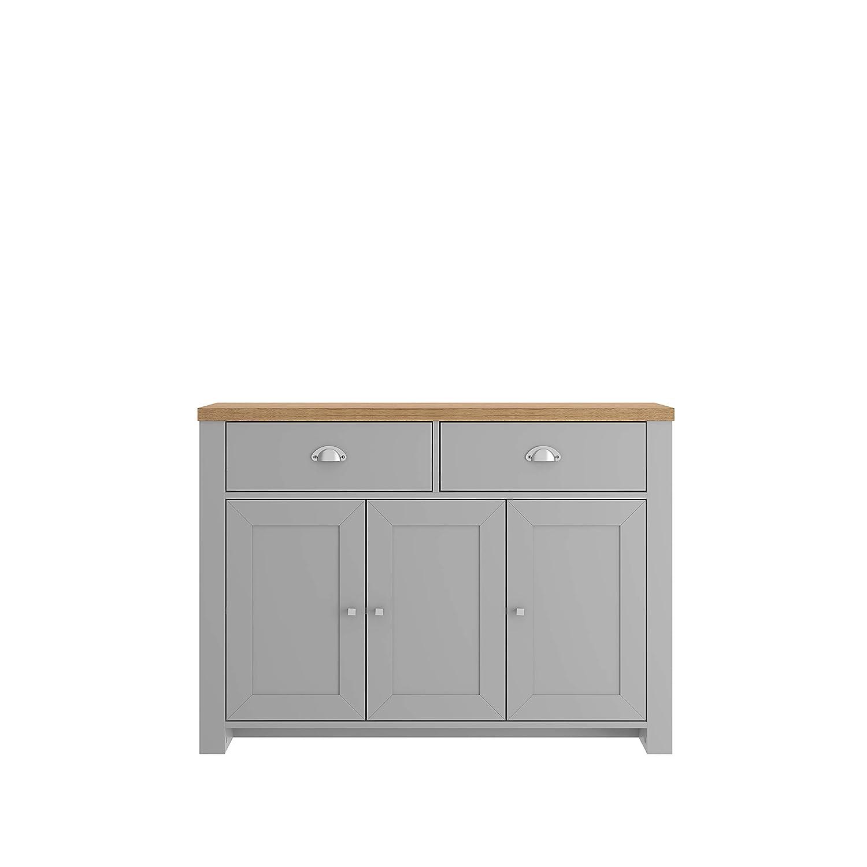 One Size Birlea Winchester 3 Door 2 Drawer Sideboard Cream /& Oak Effect Medium Density Particle Board