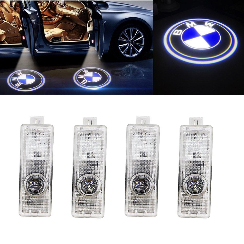 Grolish 4-Pack Car Door LED Logo Projector Door Step Courtesy Light for BMW M